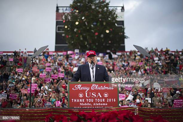 PresidentElect Donald J Trump speaks during a 'USA Thank You Tour 2016' event at the LaddPeebles Stadium in Mobile AL on Saturday Dec 17 2016