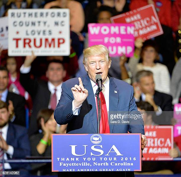 President-elect Donald Trump addresses an audience at Crown Coliseum on December 6, 2016 in Fayetteville, North Carolina. Trump took time off from...