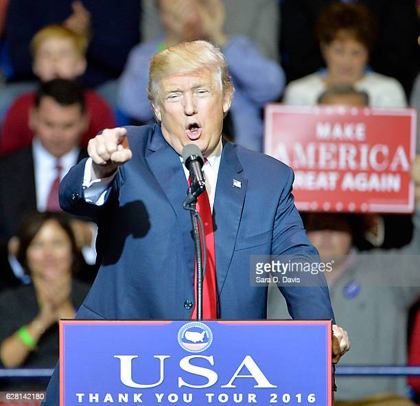 Presidentelect Donald Trump addresses an audience at Crown Coliseum on December 6 2016 in Fayetteville North Carolina Trump took time off from...