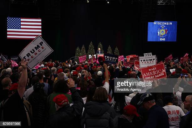 President-elect Donald Trump addresses to his supporters at the USA Thank You Tour 2016 at the Wisconsin State Fair Exposition Center in West Allis,...