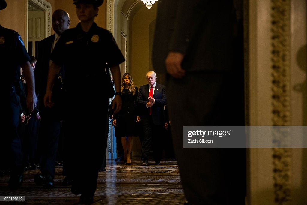 President-elect Donald Trump along with his wife Melania Trump leave a meeting with Senate Majority Leader Mitch McConnell (R-KY) at the U.S. Capitol November 10, 2016 in Washington, DC. Earlier in the day president-elect Trump met with U.S. President Barack Obama at the White House.
