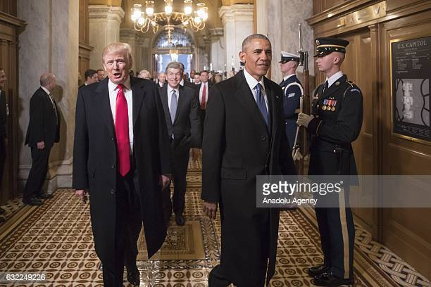 Presidentelect Donald Trump and former President Barack Obama arrive for Trumps inauguration ceremony at the Capitol in Washington USA on January 20...
