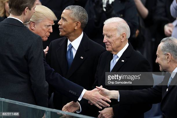 S Presidentelect Donald Trump and his son Eric Trump greet President Barack Obama Vice President Joe Biden and Senate Minority Leader Charles Schumer...