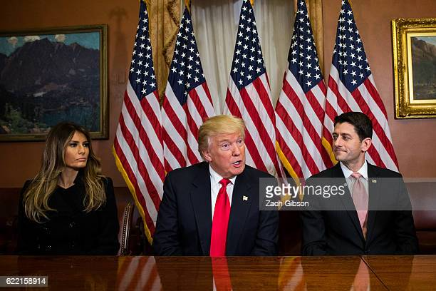 Presidentelect Donald Trump and his wife Melania Trump meet with House Speaker Paul Ryan at The Capitol Building on November 10 2016 in Washington DC...