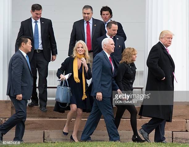 US Presidentelect Donald Trump and Vice Presidentelect Mike Pence leave the Lamington Presbyterian Church after Sunday services in Bedminster New...