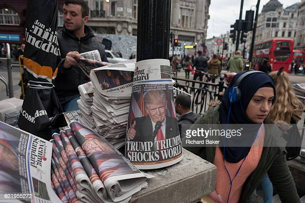 US presidentelect Donald Trump appears on the front page of the London Evening Standard newspaper on the day of his election on November 9th 2016 in...