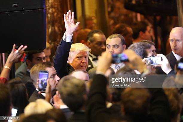 Presidentelect Donald Trump arrives at a news cenference at Trump Tower on January 11 2017 in New York City This is Trump's first official news...