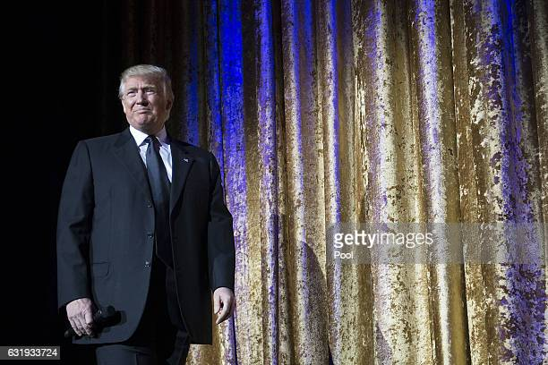 Presidentelect Donald Trump delivers remarks at the Chairman's Global Dinner at the Andrew W Mellon Auditorium in on January 17 2017 in Washington DC...