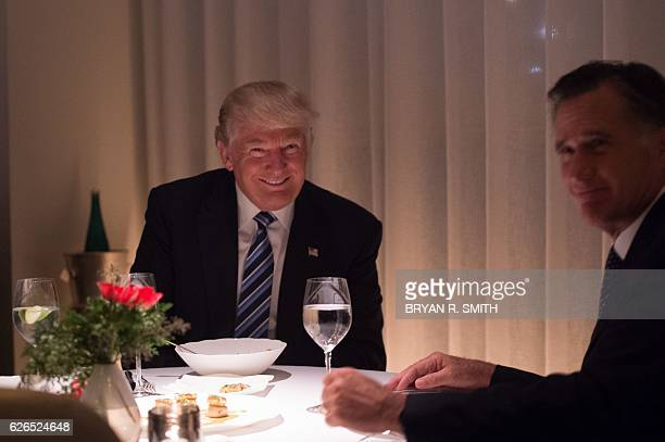 Presidentelect Donald Trump dines with Mitt Romney at JeanGeorges restaurant at Trump International Hotel and Tower Tuesday November 29 2016 in New...