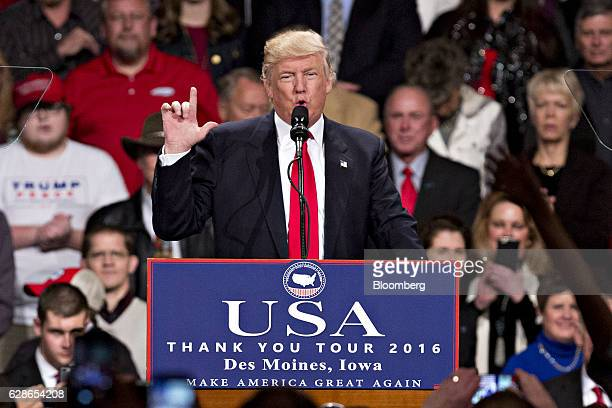 US Presidentelect Donald Trump gestures as he speaks during an event in Des Moines Iowa US on Thursday Dec 8 2016 Trump said China will soon have to...