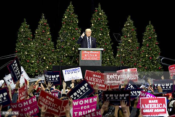 President-elect Donald Trump gestures during an event in West Allis, Wisconsin, U.S., on Tuesday, Dec. 13, 2016. The president elect said publicly on...