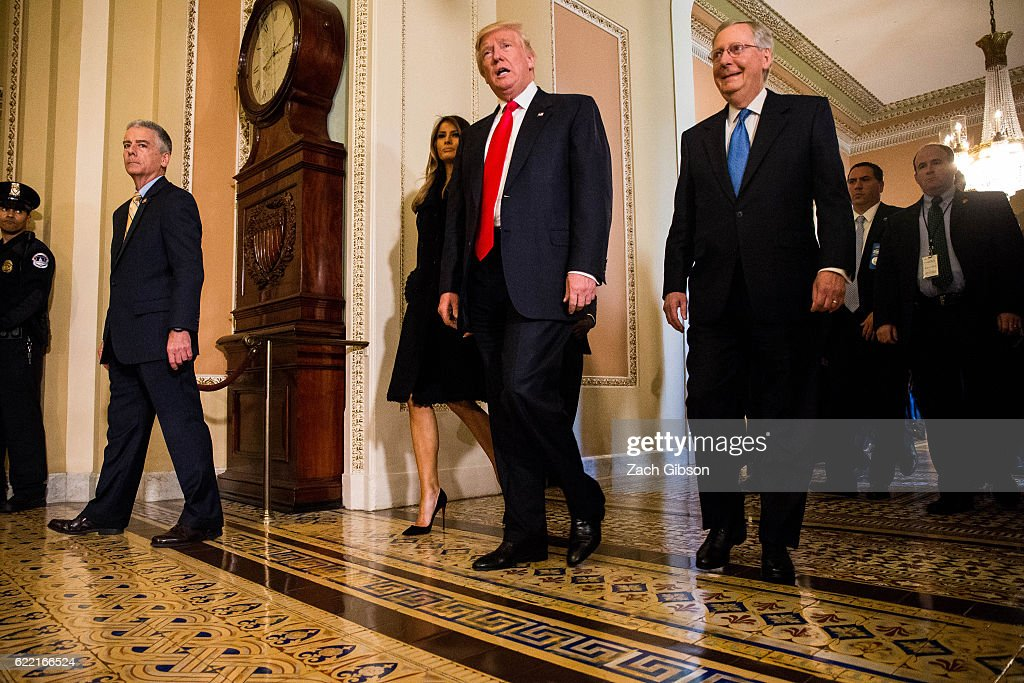 President-elect Donald Trump leaves a meeting with Senate Majority Leader Mitch McConnell (R-KY), at the U.S. Capitol November 10, 2016 in Washington, DC. Earlier in the day president-elect Trump met with U.S. President Barack Obama at the White House.