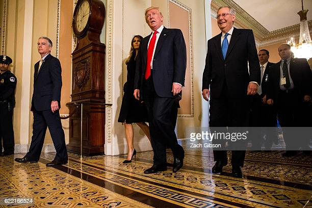 Presidentelect Donald Trump leaves a meeting with Senate Majority Leader Mitch McConnell at the US Capitol November 10 2016 in Washington DC Earlier...