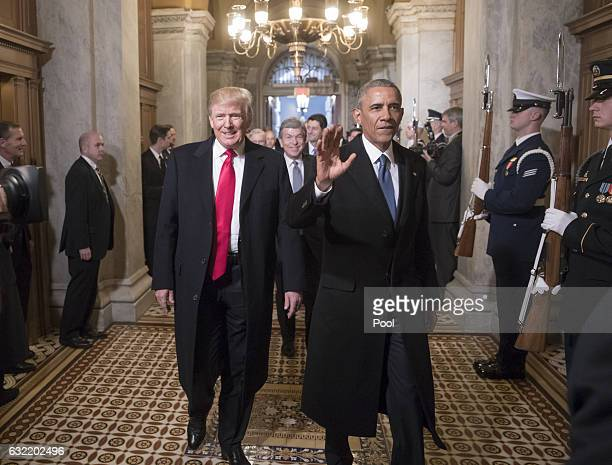 Presidentelect Donald Trump left and President Barack Obama arrive for Trump's inauguration ceremony at the Capitol in Washington Friday Jan 20 2017...