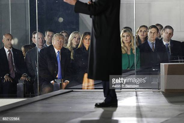 Presidentelect Donald Trump looks on during the inauguration concert at the Lincoln Memorial January 19 2017 in Washington DC Hundreds of thousands...