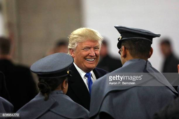 Presidentelect Donald Trump meets with cadets from the Military academies prior to the game between the Navy Midshipmen and the Army Black Nights at...