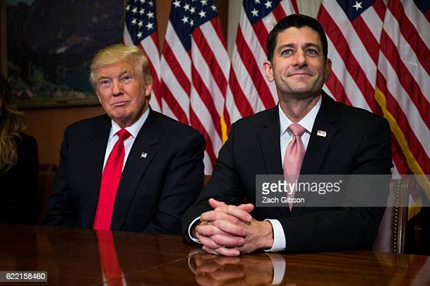 Presidentelect Donald Trump meets with House Speaker Paul Ryan at the US Capitol for a meeting November 10 2016 in Washington DC Earlier in the day...