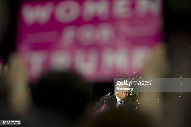 President-elect Donald Trump reacts during an event in West Allis, Wisconsin, U.S., on Tuesday, Dec. 13, 2016. The president elect said publicly on...