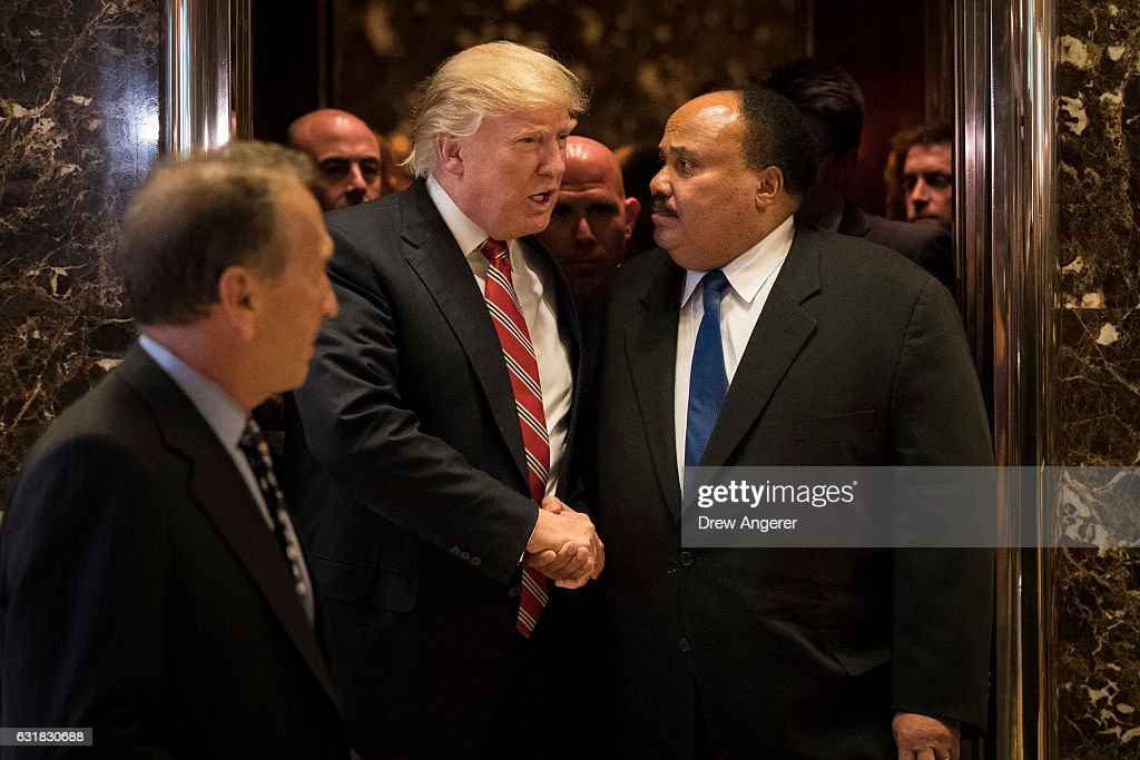 President-elect Donald Trump shakes hands with Martin Luther King III after their meeting at Trump Tower, January 16, 2017 in New York City. Trump will be inaugurated as the next U.S. President this coming Friday.