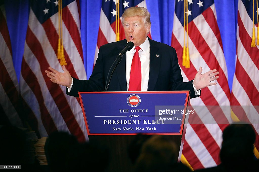 President-elect Donald Trump speaks at a news cenference at Trump Tower on January 11, 2017 in New York City. This is Trump's first official news conference since the November elections.