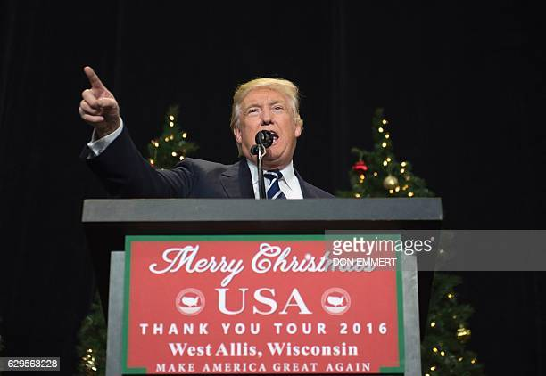 President-elect Donald Trump speaks at the USA Thank You Tour 2016 at theWisconsin State Fair Exposition Center December 13, 2016 in West Allis,...