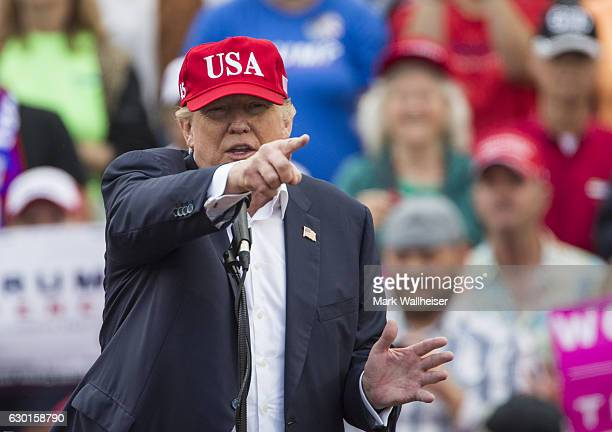 Presidentelect Donald Trump speaks during a thank you rally in LaddPeebles Stadium on December 17 2016 in Mobile Alabama Presidentelect Trump has...