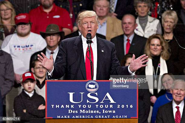 US Presidentelect Donald Trump speaks during an event in Des Moines Iowa US on Thursday Dec 8 2016 Trump said China will soon have to play by the...