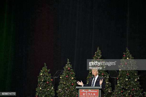 President-elect Donald Trump speaks during an event in West Allis, Wisconsin, U.S., on Tuesday, Dec. 13, 2016. The president elect said publicly on...