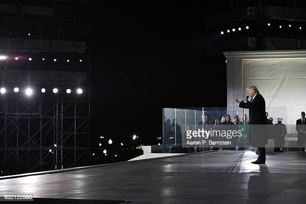 Presidentelect Donald Trump speaks during the inauguration concert at the Lincoln Memorial January 19 2017 in Washington DC Hundreds of thousands of...