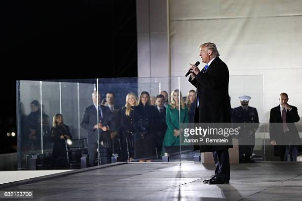 Presidentelect Donald Trump speaks during the inauguration concert at the Lincoln Memorial January 19 2017 in Washington DC Trump will be sworn in as...