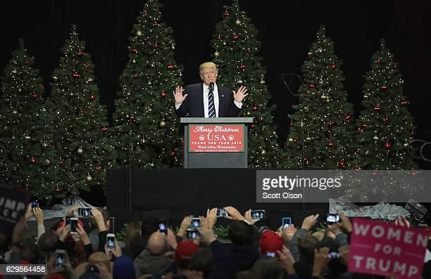 President-Elect Donald Trump speaks to supporters at a Thank You Tour 2016 rally on December 13, 2016 in West Allis, Wisconsin. Trump and his running...