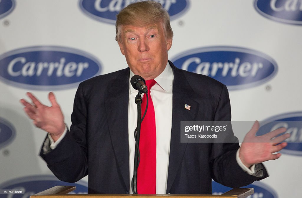 President-elect Donald Trump speaks to workers at Carrier air conditioning and heating on December 1, 2016 in Indianapolis, Indiana.