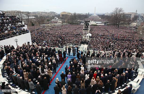 US Presidentelect Donald Trump takes the oath of office during the 58th presidential inauguration in Washington DC US on Friday Jan 20 2017 Donald...