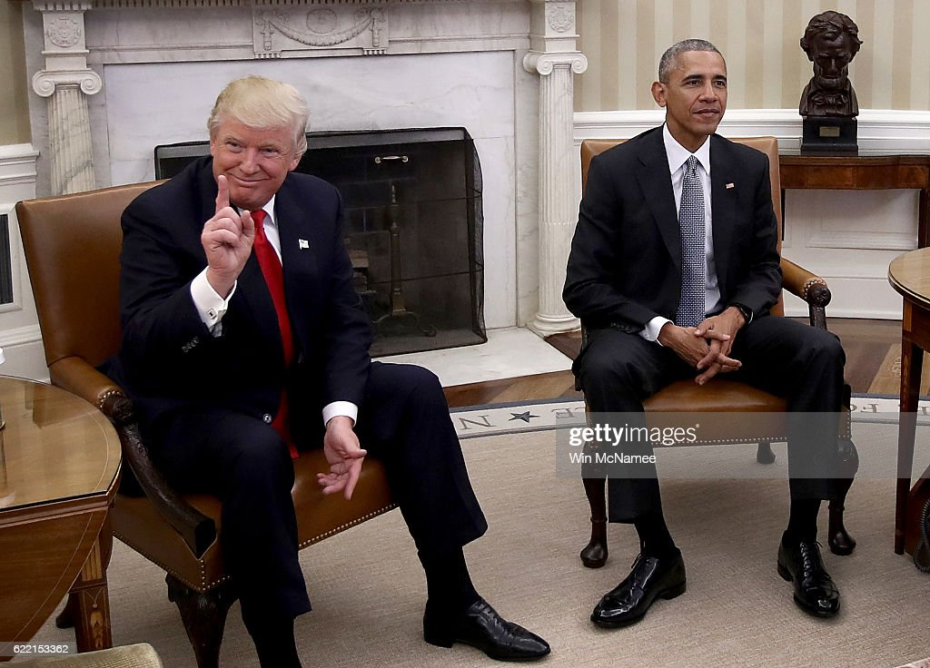 President-elect Donald Trump (L) talks after a meeting with U.S. President Barack Obama (R) in the Oval Office November 10, 2016 in Washington, DC. Trump is scheduled to meet with members of the Republican leadership in Congress later today on Capitol Hill.