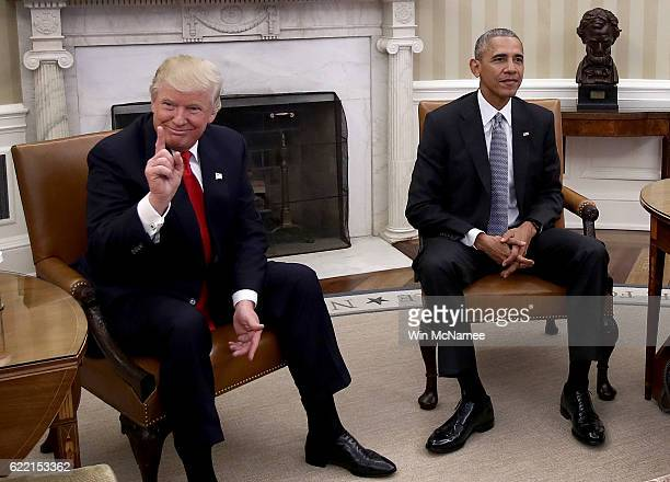 President-elect Donald Trump talks after a meeting with U.S. President Barack Obama in the Oval Office November 10, 2016 in Washington, DC. Trump is...