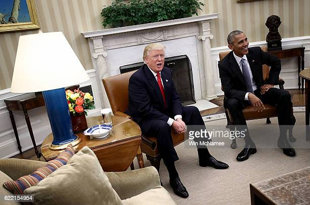 Presidentelect Donald Trump talks after a meeting with US President Barack Obama in the Oval Office November 10 2016 in Washington DC Trump is...