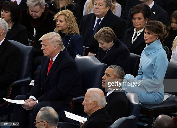 S Presidentelect Donald Trump Vice President Joe Biden President Barack Obama Barron Trump and Melania Trump take their seats on the West Front of...