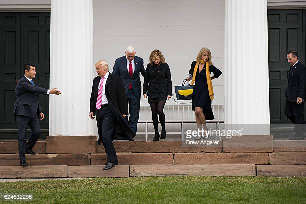 Presidentelect Donald Trump Vice Presidentelect Mike Pence Charlotte Pence campaign manager Kellyanne Conway and Reince Priebus Trump's pick for...