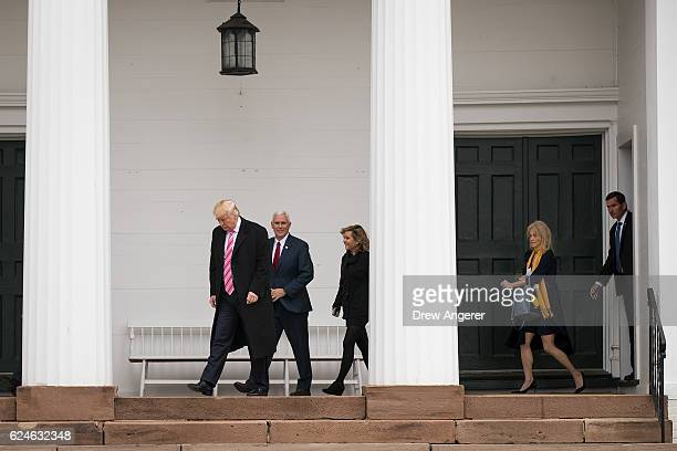 Presidentelect Donald Trump Vice Presidentelect Mike Pence Charlotte Pence and campaign manager Kellyanne Conway leave Lamington Presbyterian Church...