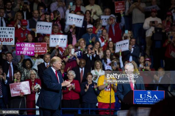 Presidentelect Donald Trump welcomes General James N Mattis US Marine Corps retired as they speak during a 'USA Thank You Tour 2016' event in the...