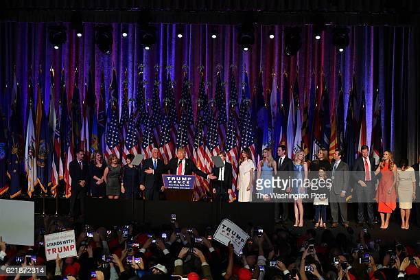 President-elect Donald Trump, with his family, addresses supporters at an election night event at the New York Hilton Midtown November 8, 2016 in New...