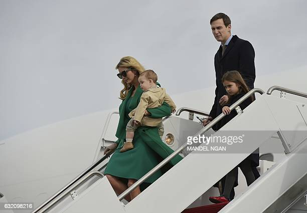 Presidentelect Donald Trump's daughter Ivanka Trump her son her husband Jared Kushner and daughter Arabella step off a plane upon arrival at Andrews...