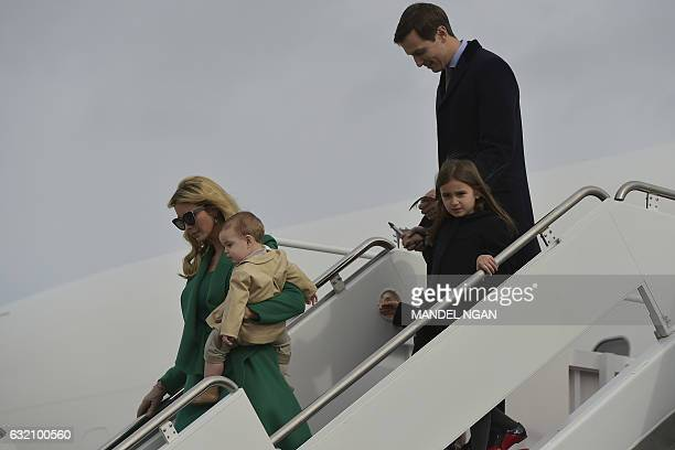 US Presidentelect Donald Trump's daughter Ivanka Trump husband Jared Kushner and children step off a plane upon arrival at Andrews Air Force Base in...