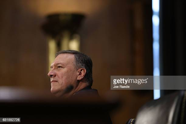 S Presidentelect Donald Trump's nominee for the director of the CIA Rep Mike Pompeo attends his confirmation hearing before the Senate Intelligence...