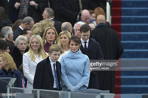 Presidentelect Donald Trump's wife Melania and children Barronn Tiffany daugtherinlaw Vanessa daughter Ivanka and soninlaw Jared Kushner are seen in...