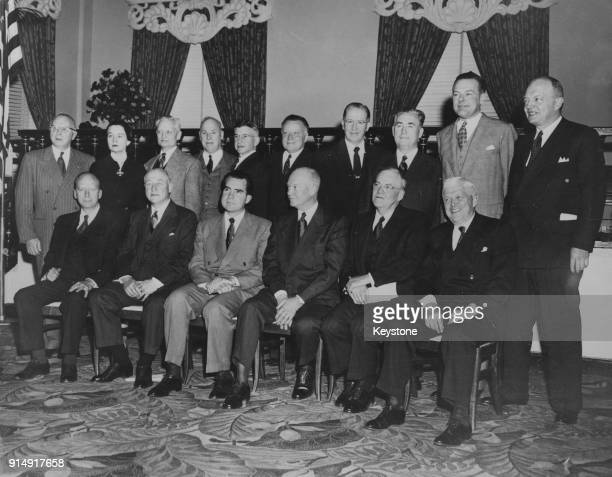 US Presidentelect Dwight D Eisenhower poses with his cabinet at the Hotel Commodore a week before assuming office 16th January 1953 From left to...