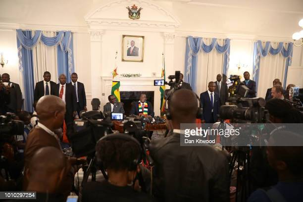 President-elect, Emmerson Mnangagwa attends a press conference on August 3, 2018 in Harare, Zimbabwe. Zimbabwe Electoral Commission officials last...