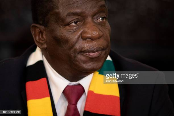 Presidentelect Emmerson Mnangagwa conducts a press conference on August 3 2018 in Harare Zimbabwe Zimbabwe Electoral Commission officials last night...