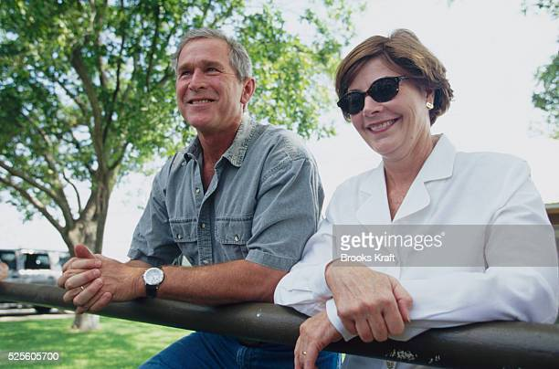 President-elect George W. And Laura Bush wait at their Texas ranch for the outcome of the Florida vote recount debate. Bush was elected president of...