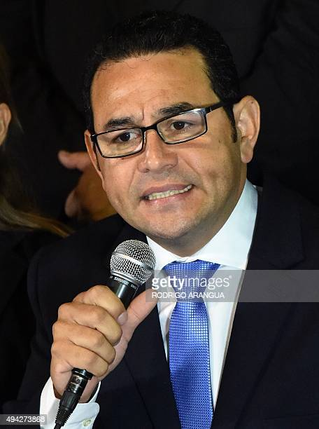 Presidentelect Jimmy Morales of the National Front Convergence delivers a speech after winning the runoff election in Guatemala City on October 25...